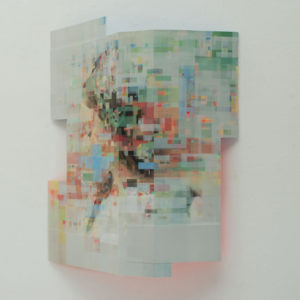 Model and System 2010018 - side view right - 98 x 95 x 21 cm - inkjet/acryl/oil coloured glass pigment on acrylicone panel